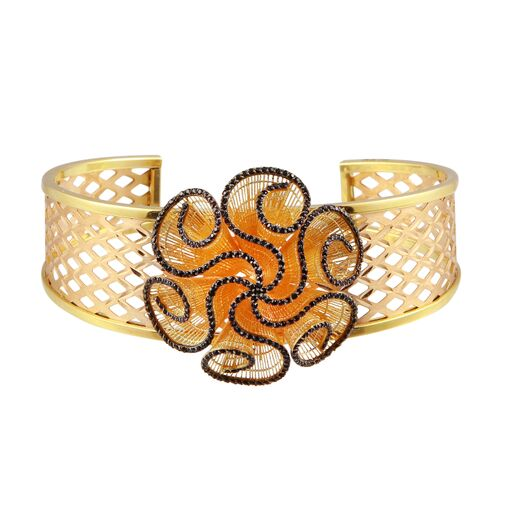 18K Solid Rose Gold Cuff Bracelet CZ Mesh Flower