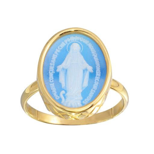 18K Solid Gold Oval Ring Blue Miraculous Medal Icon