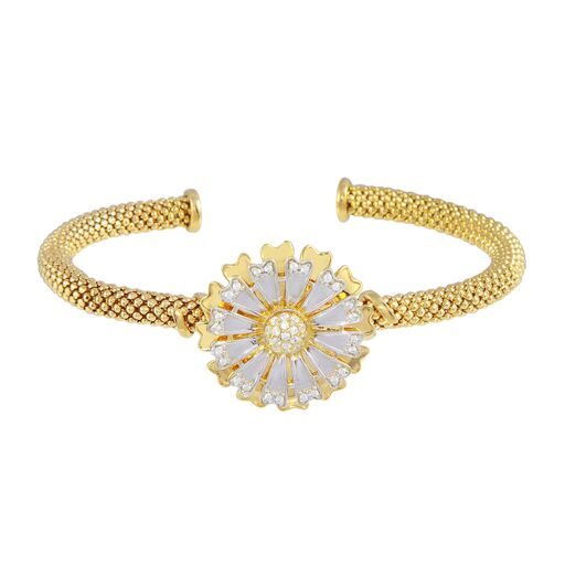 18K Solid Gold Flowr Cuff Bracelet Adjustable two tone CZ