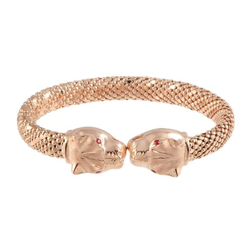 18K Solid Rose Gold Panther Tiger Cuff Bracelet Adjustable