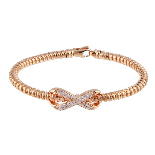 18K Solid Rose Gold Infinity Bracelet Flexible CZ 7 inches