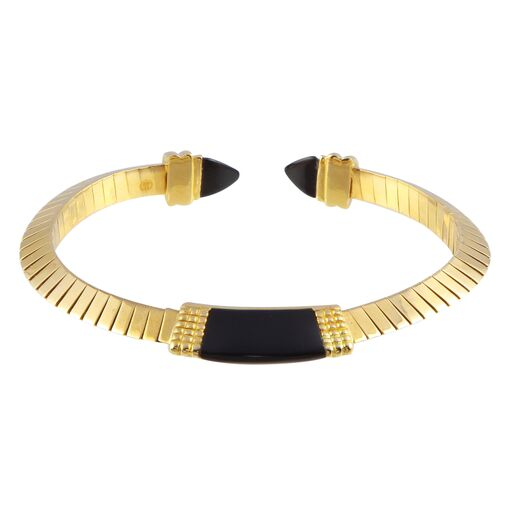 18K Solid Yellow Gold Black Cuff Bangle Bracelet Adjustable