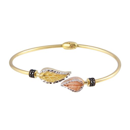 18K Gold Multi Color Leaves Bangle Bracelet Black CZ