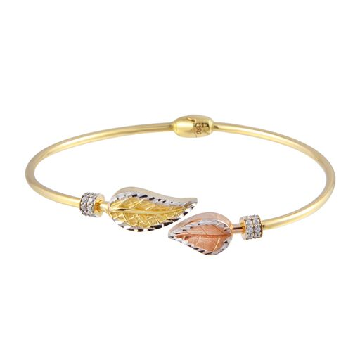 18K Gold Multi Color Leaves Bangle Bracelet CZ