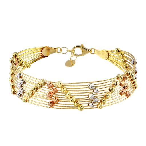 18K Yellow Gold Multicolor Daimond Cut Ball Wire Cuff Bracelet