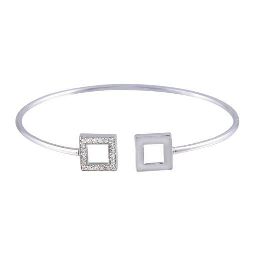 18K Solid White Gold Square Cuff Bracelet CZ 7inches