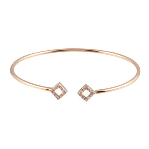 18K Solid Rose Gold Square Cuff Bracelet CZ 7inches