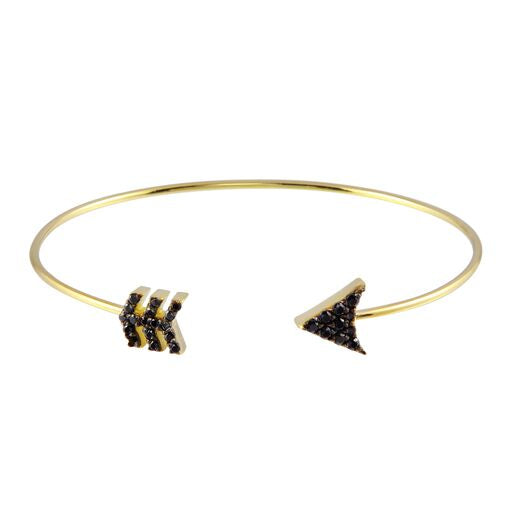 18K Yellow Gold Black Cubic Zirconia Arrow Cuff Bracelet