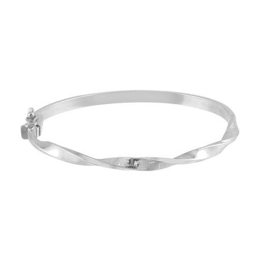 18K White Gold Twisted Bangle Bracelet