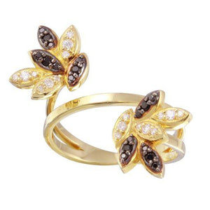 18K Yellow Gold CZ Black Marquise Ring