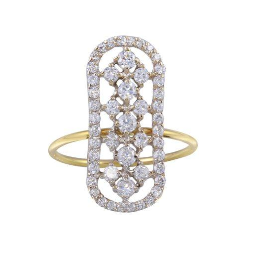 18K Yellow Gold CZ Clear White Ring