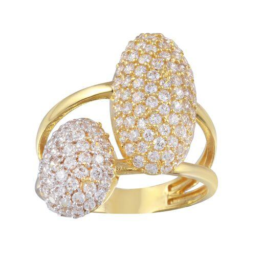 18K Yellow Gold CZ Clear Double Oval Ring