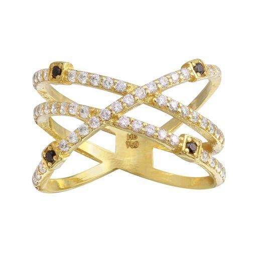 18K Yellow Gold CZ Clear Black Criss Cross  Double Ring
