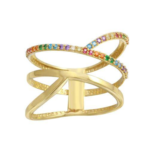 18K Yellow Gold Multicolor CZ Criss Cross  Double Ring