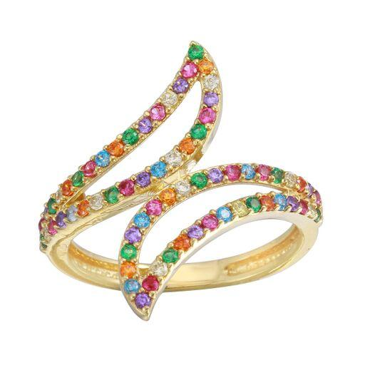 18K Yellow Gold Multicolor CZ  Ring