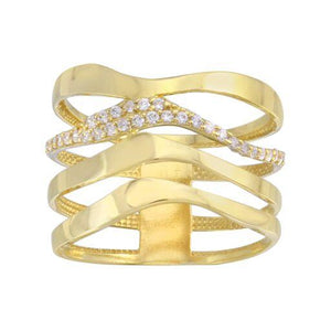 18K Yellow Gold Clear CZ Wide Wave Ring
