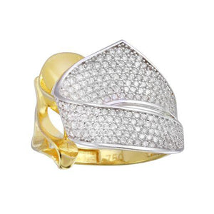 18K Yellow Gold Clear CZ Wide Micro Pave Ring