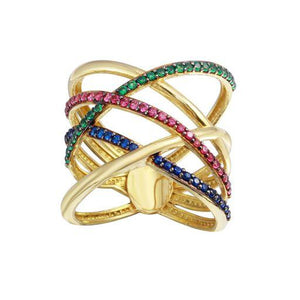 18K Yellow Gold Multicolor CZ Criss Cross Wide Ring