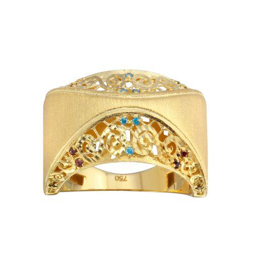 18K Yellow Gold D/C Blue CZ Wide Filigree Ring