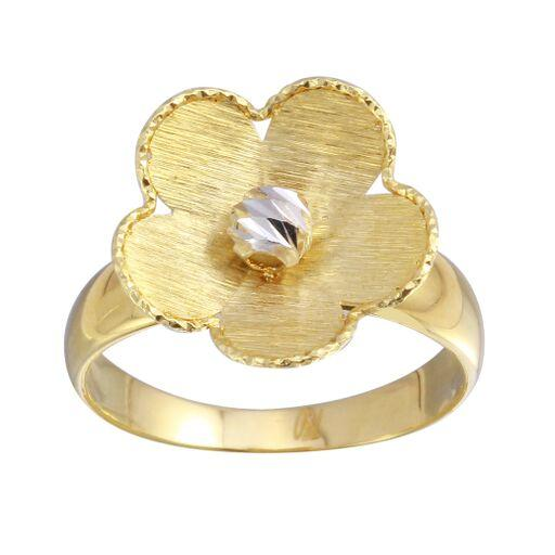 18K Yellow Gold Diamond Cut Matt Satine Flower Plain Ring