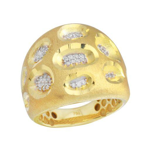18K Yellow Gold D/C CZ Wide Two Tone Ring