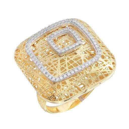 18K Yellow Gold D/C CZ Wide Filigree Square Ring