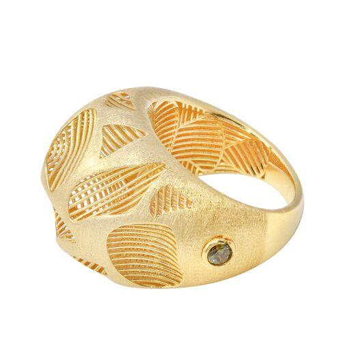 18K Yellow Gold Satine Filigree Plain Ring