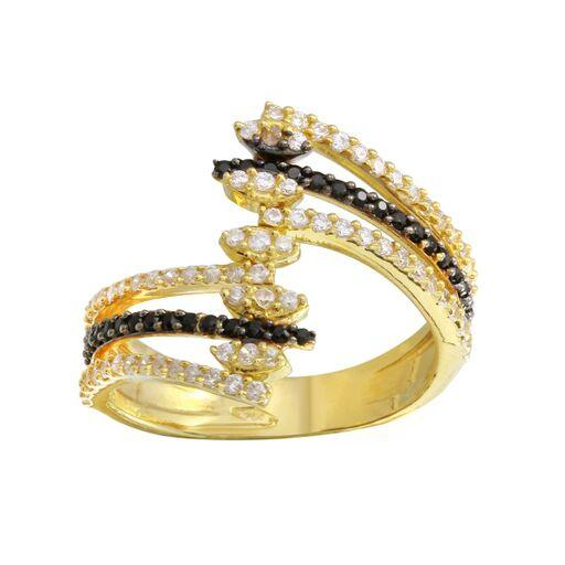 18K Yellow Gold CZ Clear  Double Black 3Rows Ring