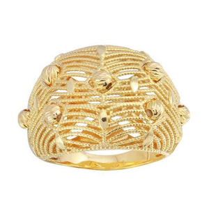 18K Yellow Gold Diamond Cut Filigree Plain Ring