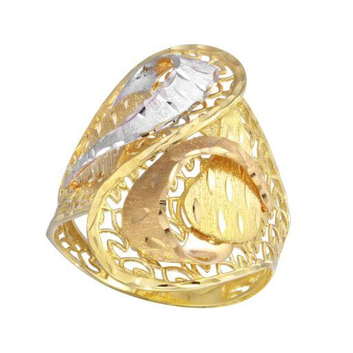 18K Yellow Gold Diamond Cut Filigree Multicolor Plain Ring