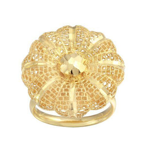 18K Yellow Gold Diamond Cut Flower Filigree Plain Ring