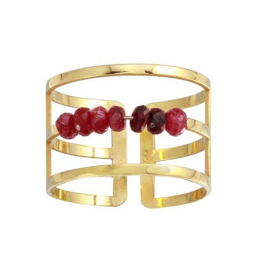 18K Yellow Gold Ruby Beads Plain Band Ring Adjustable