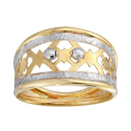 18K Yellow Gold Diamond Cut Two Tone Filigree Plain Ring