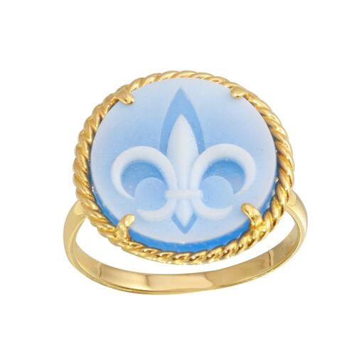 18K Yellow Gold Round Blue Fleur De Lis Stone Ring