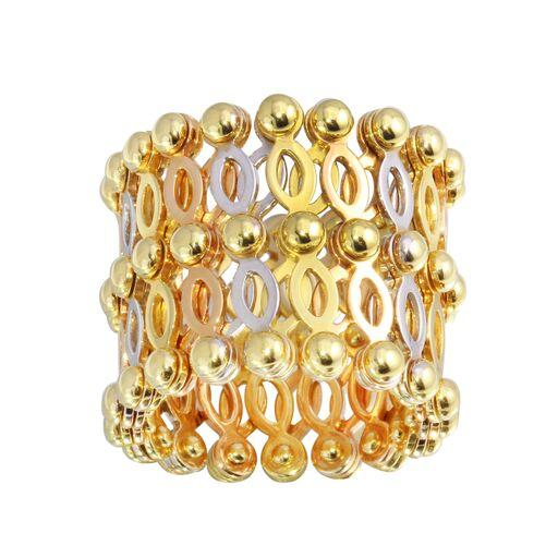 18K Yellow Gold Multicolor Movable Plain Ring Bracelet Adjustable