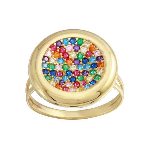 18K Yellow Gold CZ Multicolor Stones Round Ring