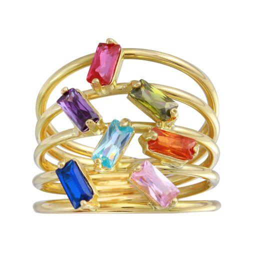 18K Yellow Gold CZ Multicolor Stones Baguette Ring
