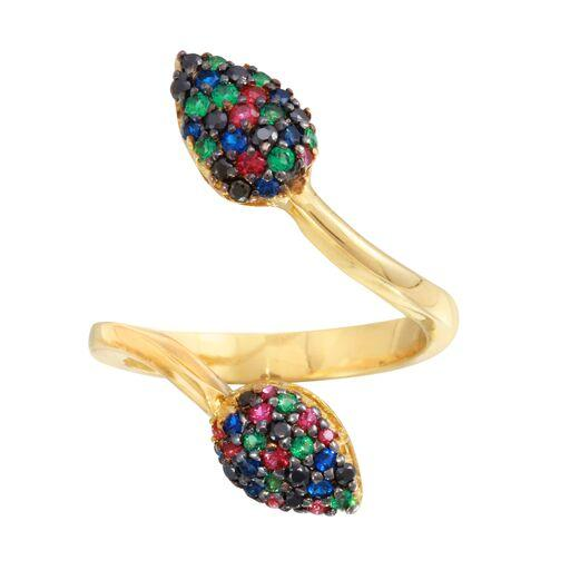 18K Yellow Gold CZ Multicolor Stones Ring