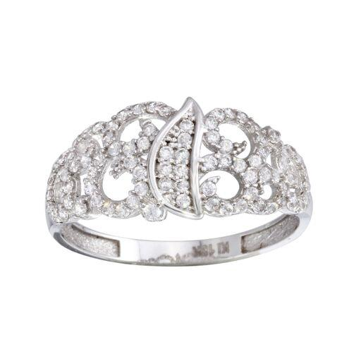 18K White Gold CZ Micro Pave Ring