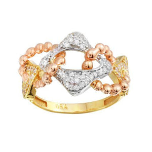 18K Yellow Gold CZ Multicolor  Ring