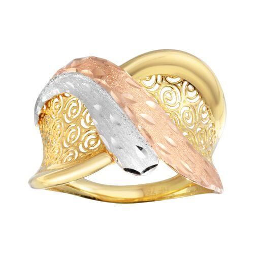 18K Yellow Gold Multi Color 3 Tone Plain Ring