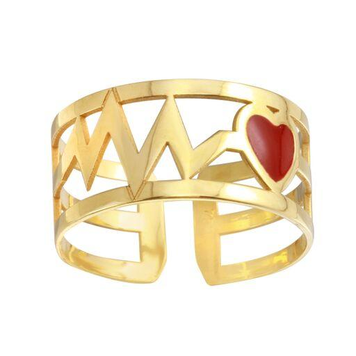 18K Yellow Gold Red Heart Beat Band Ring Adjustable