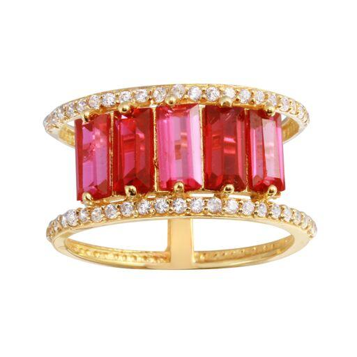 18K Yellow Gold CZ Red Baguette Ring