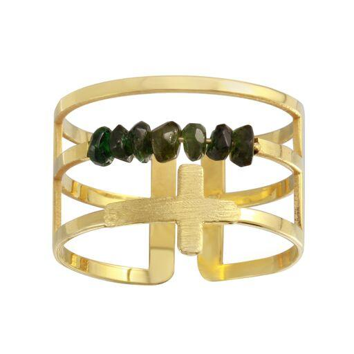 18K Yellow Gold Green Beads Plain Cross Ring Adjustable