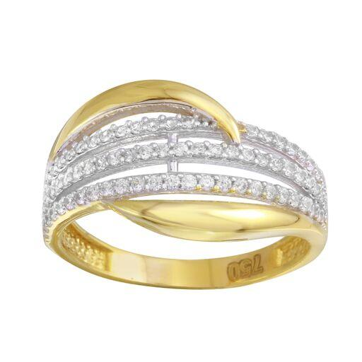 18K White Gold CZ Micro Pave Two Tone Ring