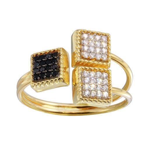 18K White Gold Black CZ Micro Pave Square Ring