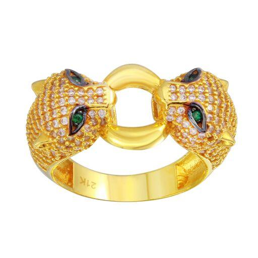 21K Solid Yellow Gold CZ Clear  Ring