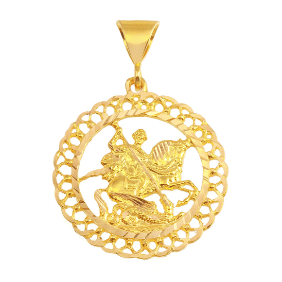 21K Yellow Gold Saint George Icon Round Medal DC Pendant
