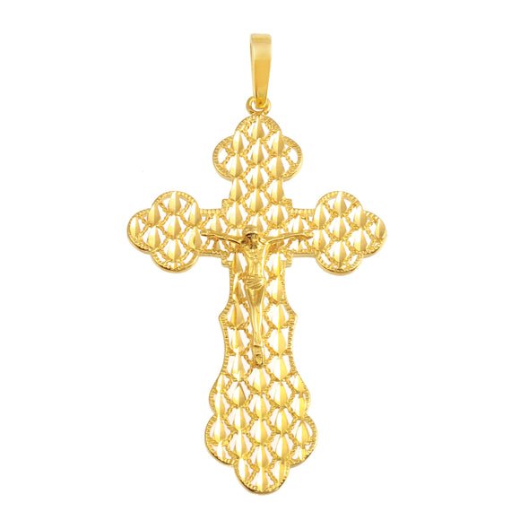 21K Yellow Gold Crucifix Cross Medal DC Pendant