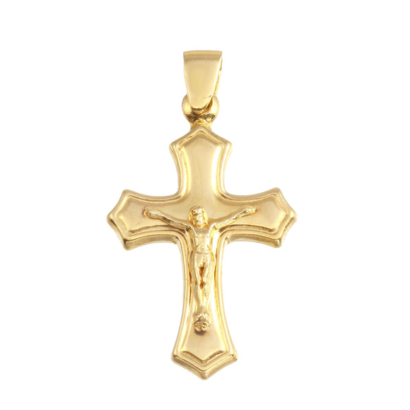 18K Yellow Gold Crucifix Cross Medal Two Tone Pendant